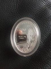 Фламинго. Монета серебряная,  500 тенге. Казахстан 2009 год